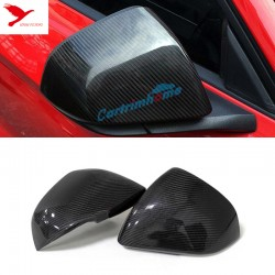 US version! 2pcs Carbon Fiber Side Rearview Rear View Mirror Cover Trim For Ford Mustang 2015-2017