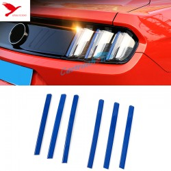 Blue Rear Tail Light Lamp Stripe Cover Trim 6pcs for Ford Mustang 2015 - 2017