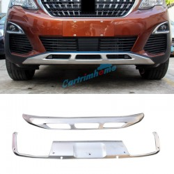 Front + Rear Bumper Protector Skid Plate 2pcs For Peugeot 3008 GT 2016 2017 2018