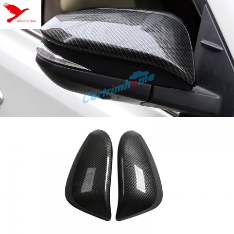 2* Carbon Fiber Style Rearview Side Mirror Cover Trim For Toyota RAV4 2013-2017