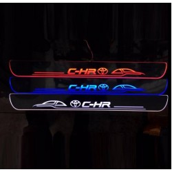 Free Shipping led Outer Door Sill Scuff Plate Animated Moving Running Glowing Light 4pcs for Toyota C-HR CHR 2016-2019