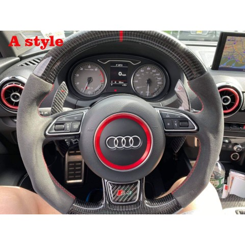 Without DSG Paddle Shifters Cover Trim or R8 buttons!!!Free Shipping Carbon Fiber Steering Wheel Replacement Parts For AUDI