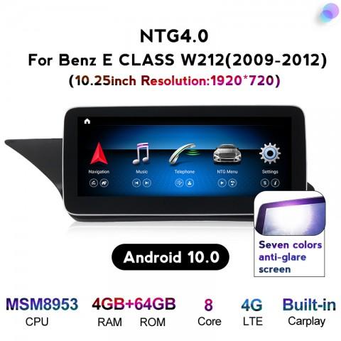 Free Shipping Android 10 4+64G Car Multimedia Stereo Radio Audio GPS Navigation Sat Nav Head Unit For Mercedes Benz E Class W212 E200 E230 E260 2009-2012