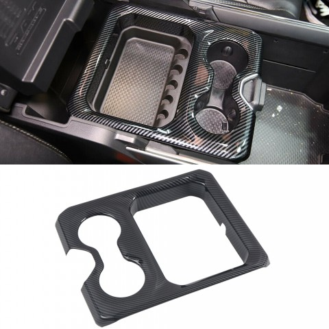 Free Shipping Carbon Style Front Water Cup Holder Cover Trim For Dodge Ram 1500 2019-2021