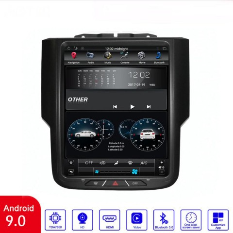 Free Shipping Android 9.0 Tesla Style 4+64G Car Multimedia Stereo Radio Audio GPS Navigation Sat Nav Head Unit For Dodge Ram 1500 2019-2021