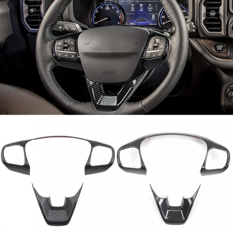Free Shipping Interior ABS Carbon Style Steering Wheel Cover Trim For Ford Bronco Sport CX430 2021-2022