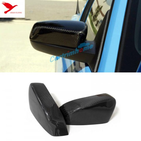 2pcs Carbon Fiber Side Rearview Rear View Mirror Cover Trim For Ford Mustang 2015-2017