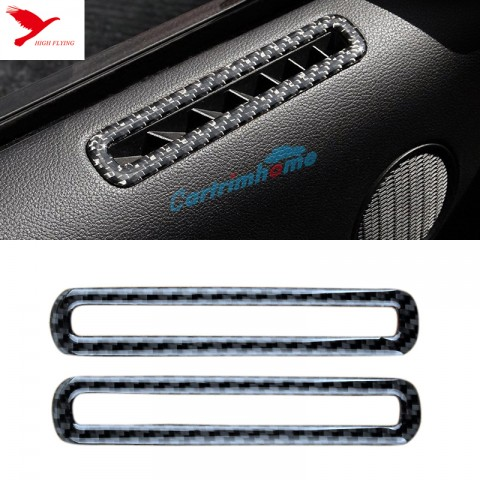 Free Shipping Carbon fiber Inner Door Upper Air Condition Vent Cover Trim 2pcs For Ford Mustang 2015 - 2019