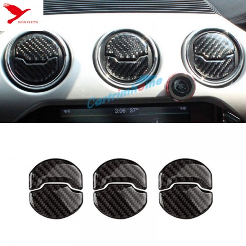 Carbon fiber Inner Middle Console Air Condition Vent Cover 6pcs For Ford Mustang 2015 - 2017