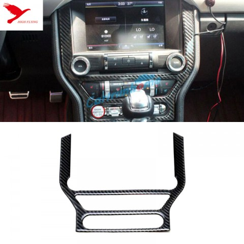 Carbon Fiber Middle Console Panel Cover Trim 1pcs For Ford Mustang 2015 2016