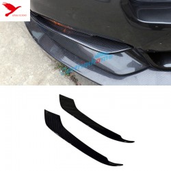 Carbon Fiber Front Fog Light Eyelid Cover Trim 2pcs for Ford Mustang 2015 - 2017
