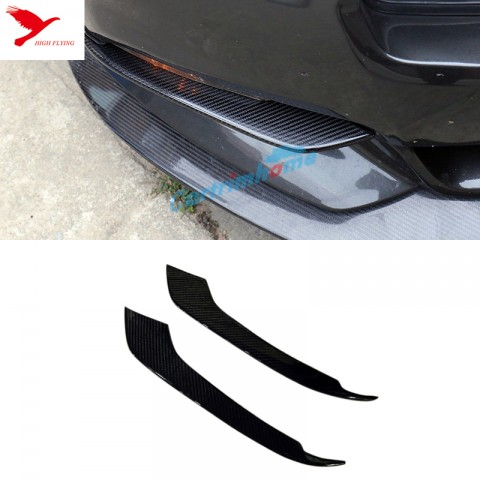 Free Shipping Carbon Fiber Front Fog Light Eyelid Cover Trim 2pcs for Ford Mustang 2015 - 2019