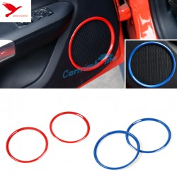 Free Shipping ABS Interior Side Door Speaker Ring Cover Trim 2pcs For Ford Mustang 2015 - 2019