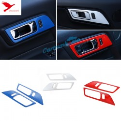ABS Inner Interior Door Handle Bowl Cover Trim 2pcs For Ford Mustang 2015 - 2019