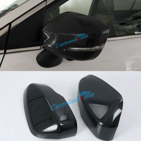 2pcs Carbon Style Door Mirror Cap Shell Cover Trim For Eclipse Cross 2017-2018