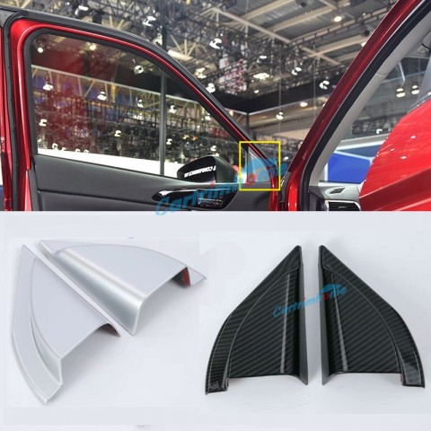 ABS Matte Interior Front Door Triangle Cover Trim 2pcs For Eclipse Cross 2017-2018