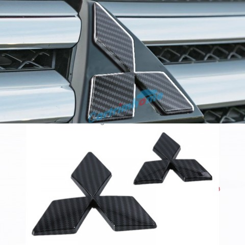 ABS Carbon Style Front & Rear Mitsubishi LOGO Cover Trim 2Pcs For Eclipse Cross 2017-2018