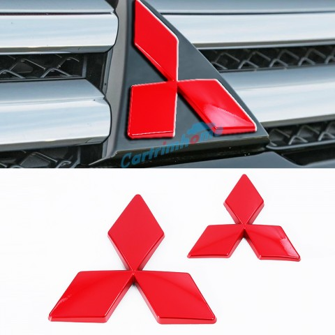ABS Red Front & Rear Mitsubishi LOGO Cover Trim 2Pcs For Eclipse Cross 2017-2018
