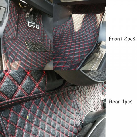 LHD / RHD Front + Rear 3pcs Leather floor mats For Peugeot 3008 Access / Active / Allure / GT 2016 2017 2018