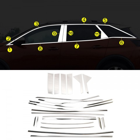 Stainless Steel Full Window Sill With Center Pillar Trims 22pcs For Peugeot 3008 2016-2018
