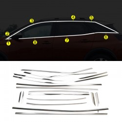 Stainless Steel Full Window Sill Trims 16pcs For Peugeot 3008 2016-2018