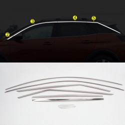 Stainless Steel Upper Window Sill Trims 8pcs For Peugeot 3008 2016-2019