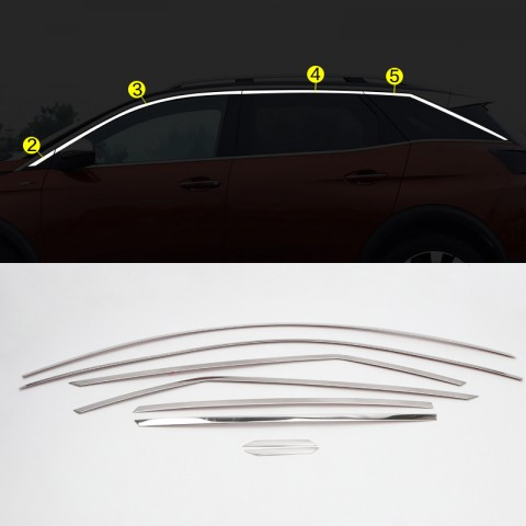 Stainless Steel Upper Window Sill Trims 8pcs For Peugeot 3008 2016-2018