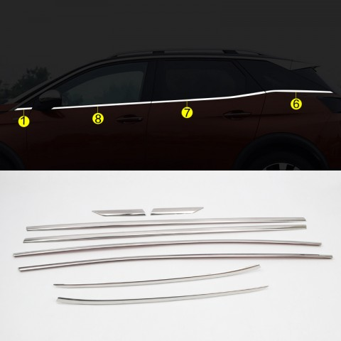 Stainless Steel Lower Window Sill Trims 8pcs For Peugeot 3008 2016-2018
