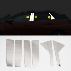 Stainless Steel Window Center Pillar Trims 6pcs For Peugeot 3008 2016-2019
