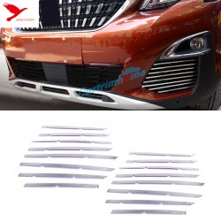 Steel Front Mesh Grille Molding Cover Trim 16pcs For Peugeot 3008 Access / Active / Allure / GT 2016 2017 2018