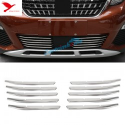 Stainless Front Bottom Grill Gird Cover Trim 10pcs For Peugeot 3008 Access / Active / Allure / GT 2016 2017 2018
