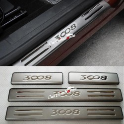 Free Shipping Steel Outer Door Sill Scuff Plate Cover Trim 4pcs For Peugeot 3008 Access / Active / Allure / GT 2016 2017