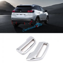 Free Shipping ABS Rear Exhaust Muffler Tip End Pipe Cover Trim 2pcs For Peugeot 3008 / 5008 Access / Active / Allure / GT 2016 2017 2018