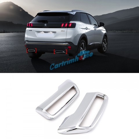 Free Shipping ABS Rear Exhaust Muffler Tip End Pipe Cover Trim 2pcs For Peugeot 3008 / 5008 Access / Active / Allure / GT 2016-2019