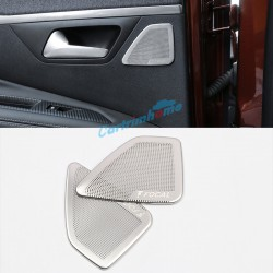Steel Focal Logo Interior Rear Door Stereo Speaker Cover Trim 2pcs For Peugeot 3008 SUV Access / Active / Allure / GT 2016 2017 2018