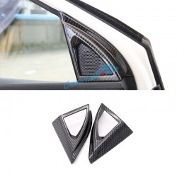 Carbon Style Interior Door Stereo Speaker Cover Trim 2pcs For Peugeot 5008 GT 2017 2018