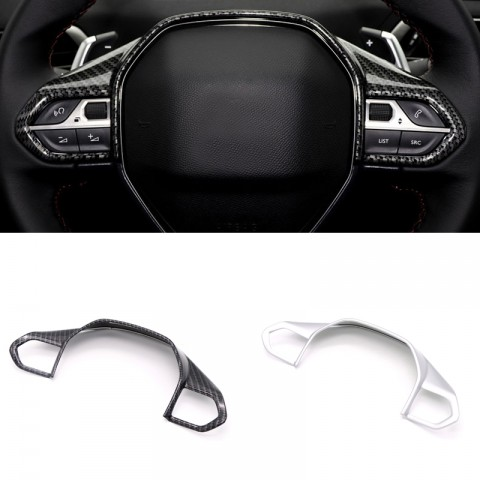 1PCS Interior ABS Steering Wheel Cover Trim For Peugeot 3008 GT 2016-2019