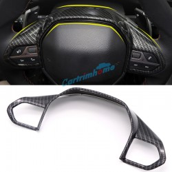 Carbon Style 1PCS Interior ABS Matte Steering Wheel Cover Trim For Peugeot 5008 GT 2017 2018