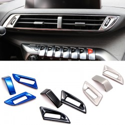Steel Silver Inner Middle Console Air Condition Vent Cover 3pcs For Peugeot 3008 Access / Active / Allure / GT 2016 2017 2018