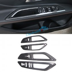 Carbon Style Door Armrest Lift Frame Cover Trim 4pcs For Peugeot 3008 GT 2016 2017 2018