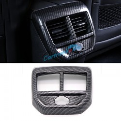 Carbon Style Inner Rear Air Condition Vent Cover Trim 1pcs For Peugeot 3008 Access / Active / Allure / GT 2016 2017 2018