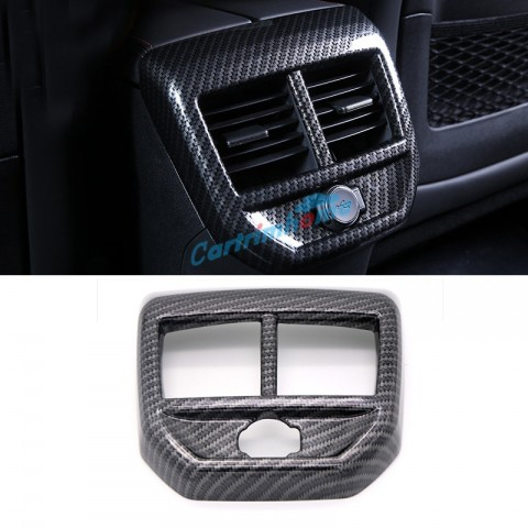 Carbon Style Inner Rear Air Condition Vent Cover Trim 1pcs For Peugeot 5008 GT 2017 2018
