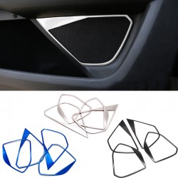 Steel Silver Auto Door Speaker Audio Ring Cover Trim 4pcs For Peugeot 3008 Access / Active / Allure / GT 2016 2017 2018