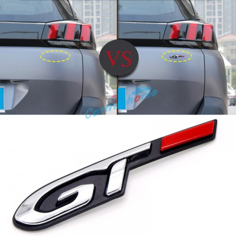 Free Shipping Plastic Rear Trunk Emblem Badge GT Logo 1pcs For Peugeot New 3008 Access / Active / Allure / GT 2016 2017 2018