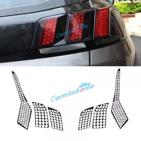 Free Shipping Rear Tail Light Honeycomb Style Stickers Cover Trim For Peugeot 3008 Access / Active / Allure / GT 2016 2017 2018