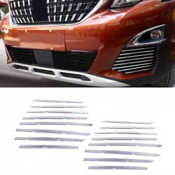 Stainless Steel Front Mesh Grille Molding Cover Trim 16pcs For Peugeot 5008 2017 2018