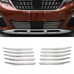 Stainless Steel Front Bottom Grill Gird Cover Trim 10pcs For Peugeot 5008 2017 2018
