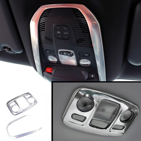 Steel Interior Front & Rear Reading Light Cover Trim for  for Peugeot 5008 2017 2018