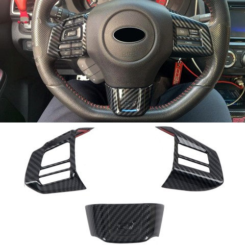 Free Shipping ABS Carbon Style Interior Steering Wheel Cover Trim 3pcs For Subaru WRX STi 2016-2019(NOT Fit Turbo CVT)