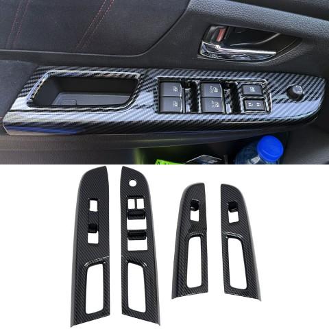 Free Shipping ABS Carbon Style Interior Window Switch Regular Cover Trim 4pcs For Subaru WRX STi 2015-2021